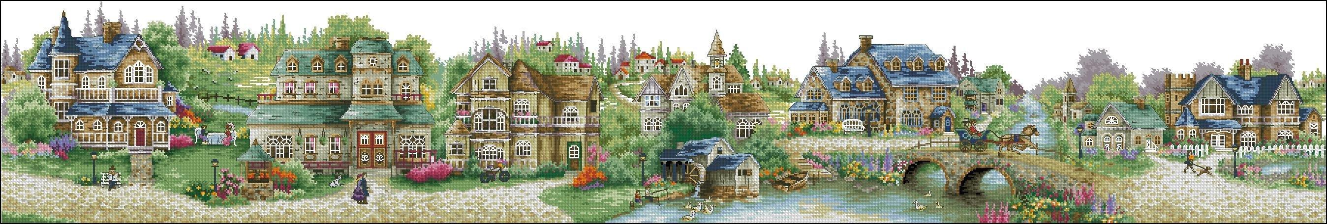 Вышивка крестиком зеленая деревня